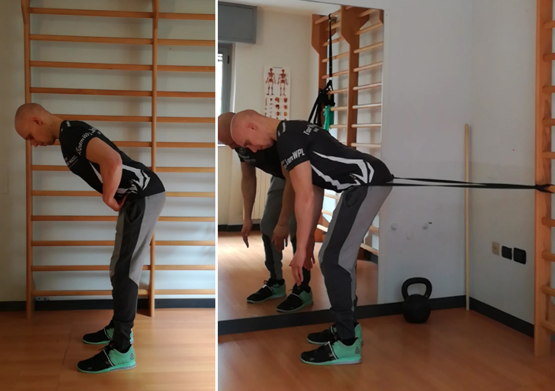 hip hinge a corpo libero con e senza elastico