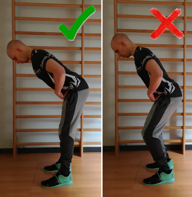 movimento di hip hinge con ginocchia gestite in modo corretto e scorretto